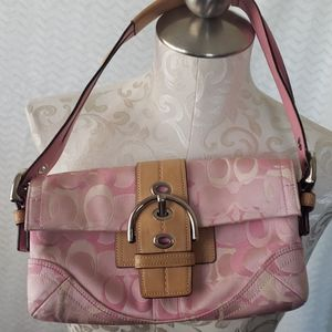 Coach pink and leather purse